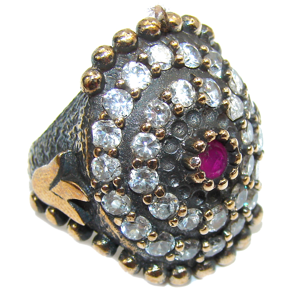 Victorian Style Pink Ruby & White Topaz Sterling Silver ring; s. 6 1/2