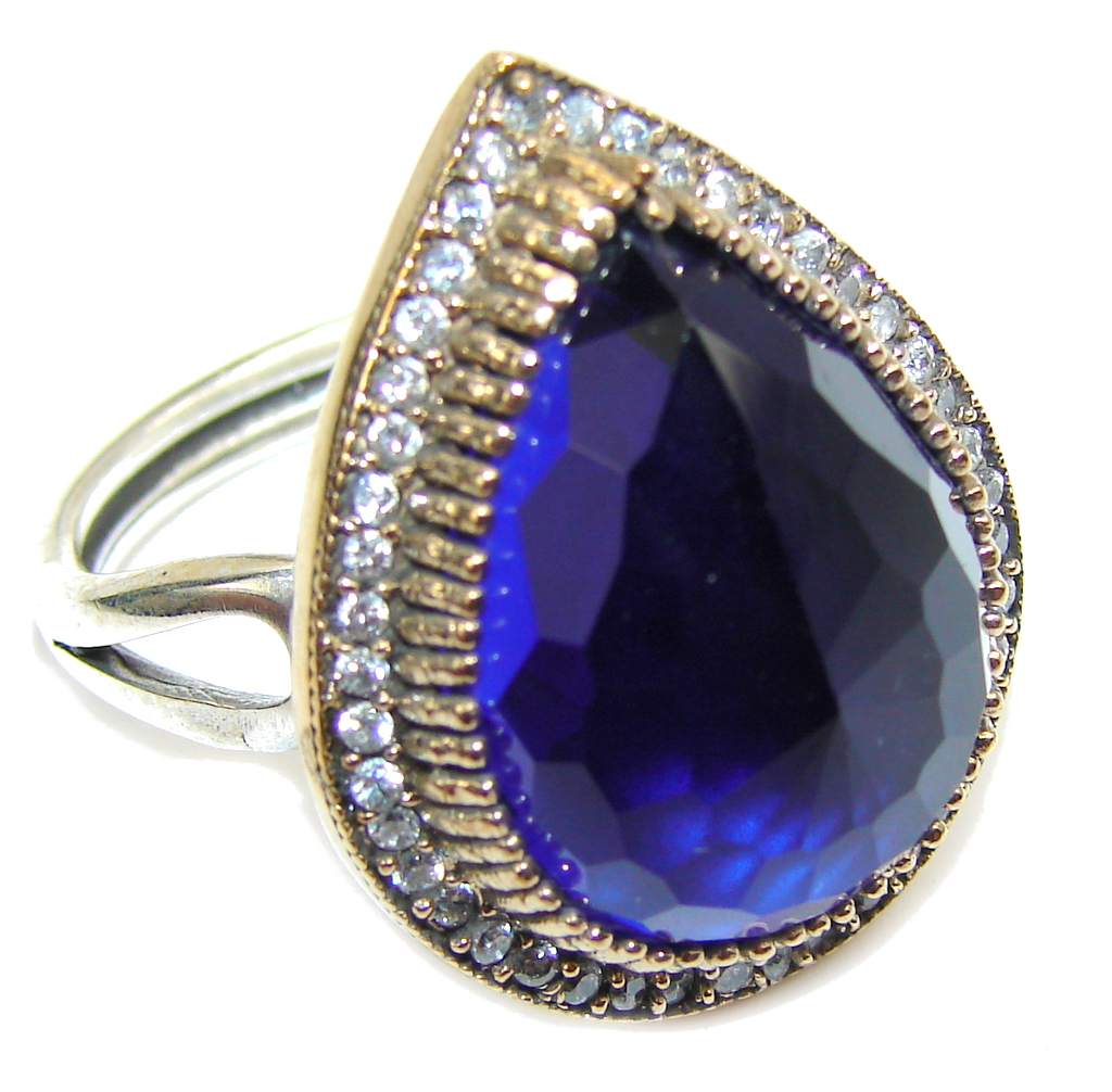 Victorian Style Created Blue Sapphire & White topaz Sterling Silver Ring s. 9 - adjustable