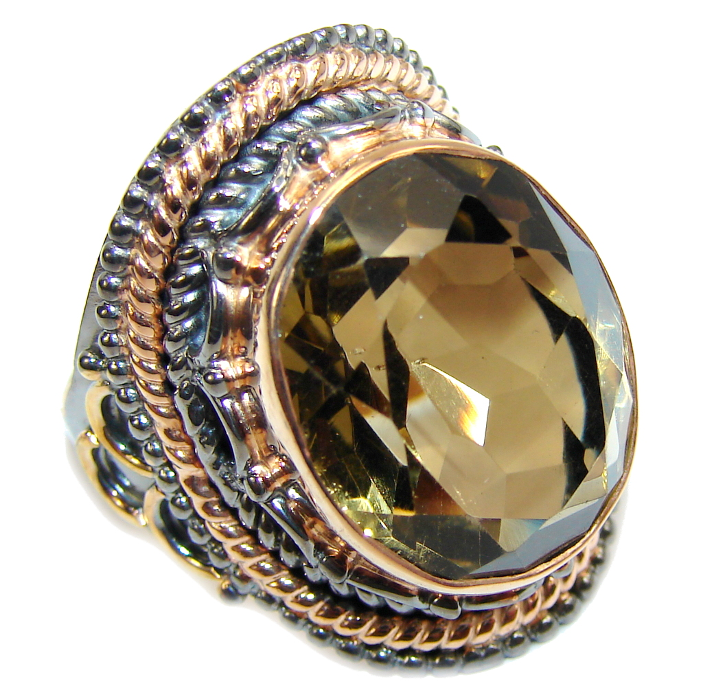 Amazing AAA Champaqne Smoky Topaz , Rose Gold Plated, Rhodium Plated Sterling Silver ring s. 9