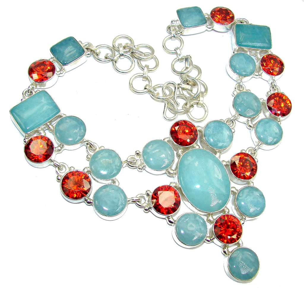 Big! Secret Beauty Blue Aquamarine & Cubic Zirconia Sterling Silver necklace