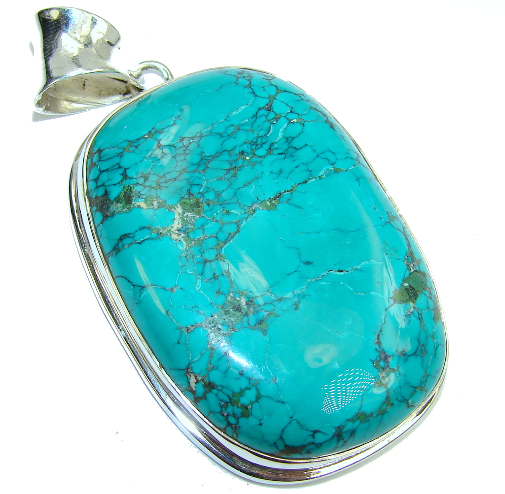Large! Corrico Lake Blue Turquoise Sterling Silver Pendant