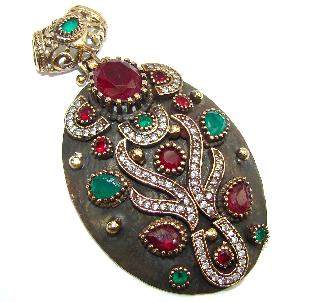 Big! Victorian Style Red Ruby & Emerald & White Topaz Sterling Silver Pendant