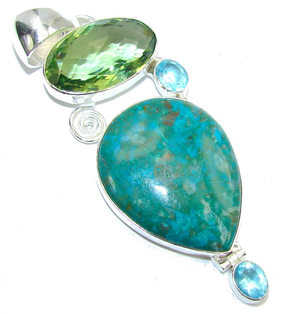 Big! Stone Of Harmony Green Chrysocolla Sterling Silver Pendant