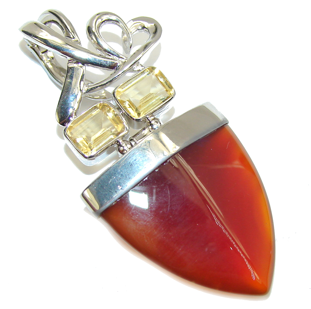 Fabulous Orange Carnelian Sterling Silver Pendant