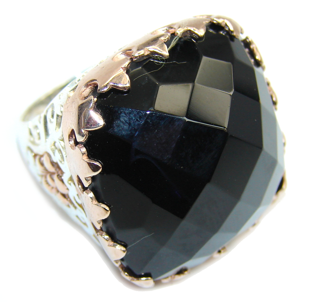 Amazing AAA Black Onyx, Two Tones Sterling Silver ring s. 8