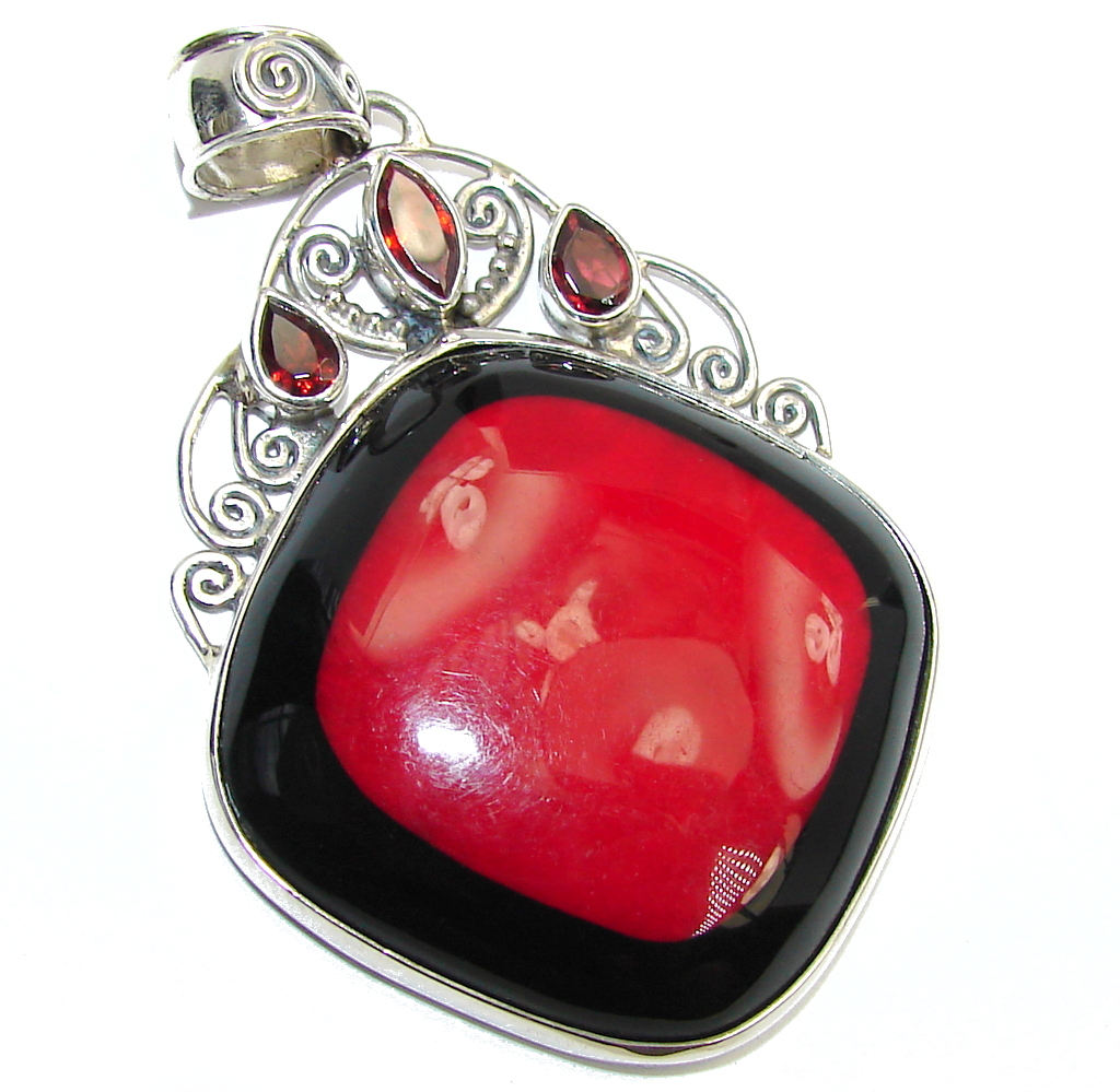 Deep Love Red Fossilized Coral & Garnet Sterling Silver pendant