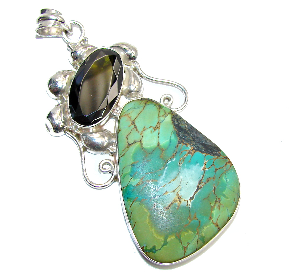 Big! Amazing Green Turquoise Sterling Silver Pendant