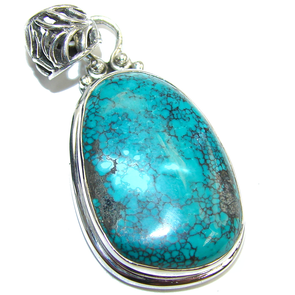 Corrico Lake Blue Turquoise Sterling Silver Pendant