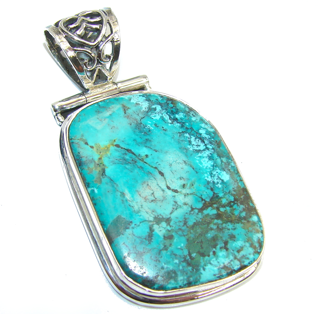 Southwest Apache Turquoise Sterling Silver Pendant
