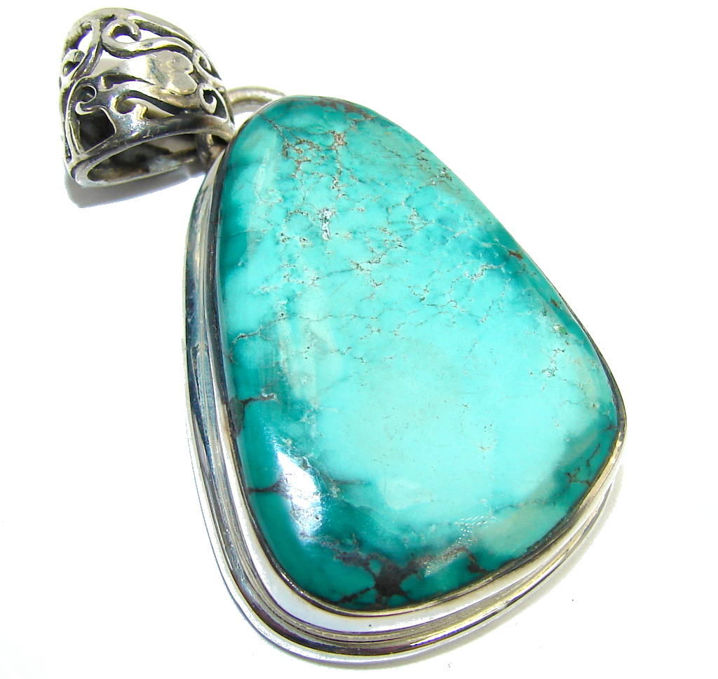 Authentic Tibetan Spider Web Sky Blue Turquoise Sterling Silver Pendant