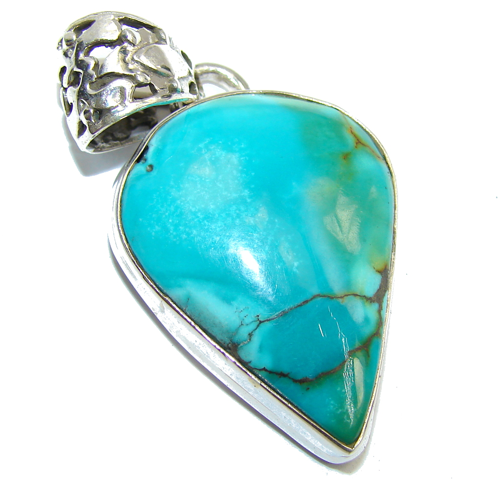 Blue Turquoise Southwestern Sterling Silver Pendant