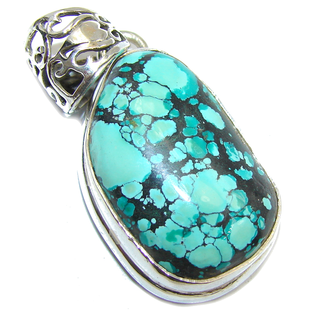 Spider Web Blue Turquoise Sterling Silver Pendant