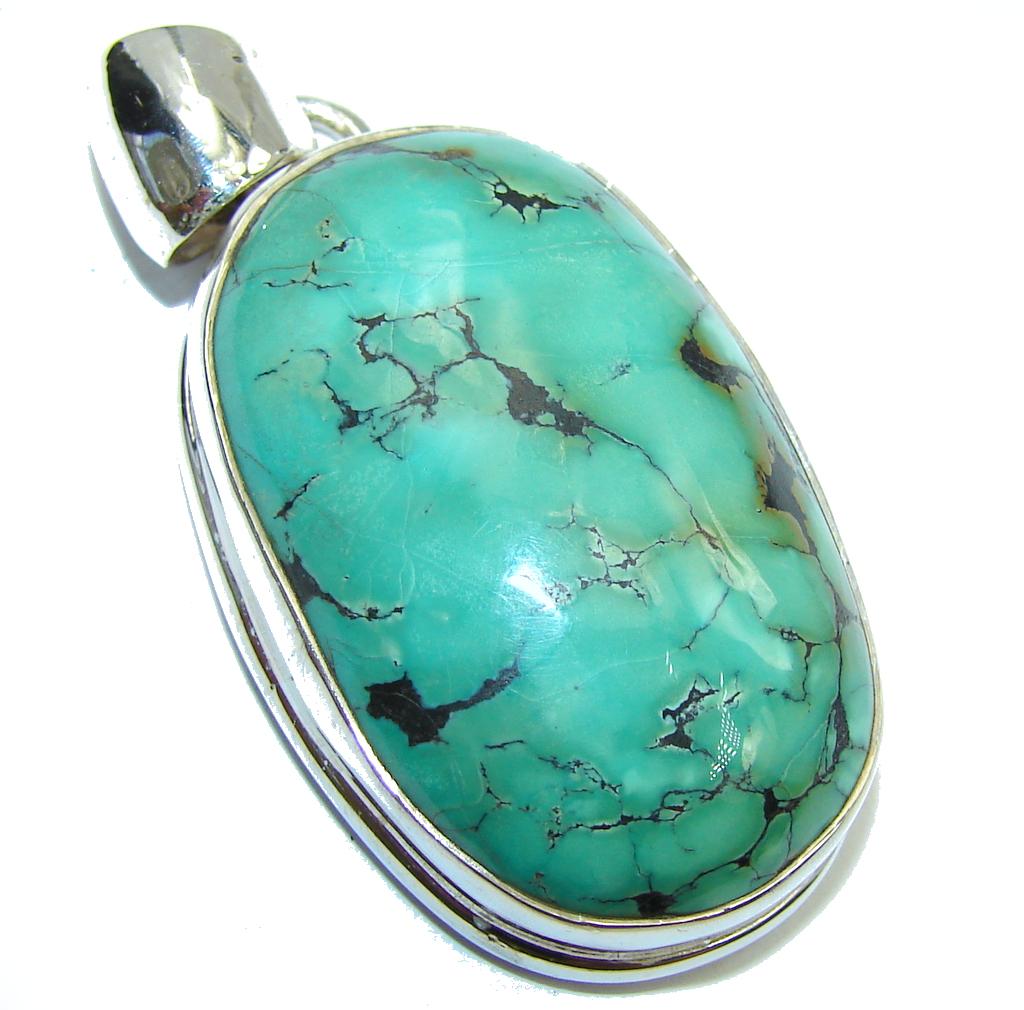 Kokopelli Green Turquoise Sterling Silver Pendant