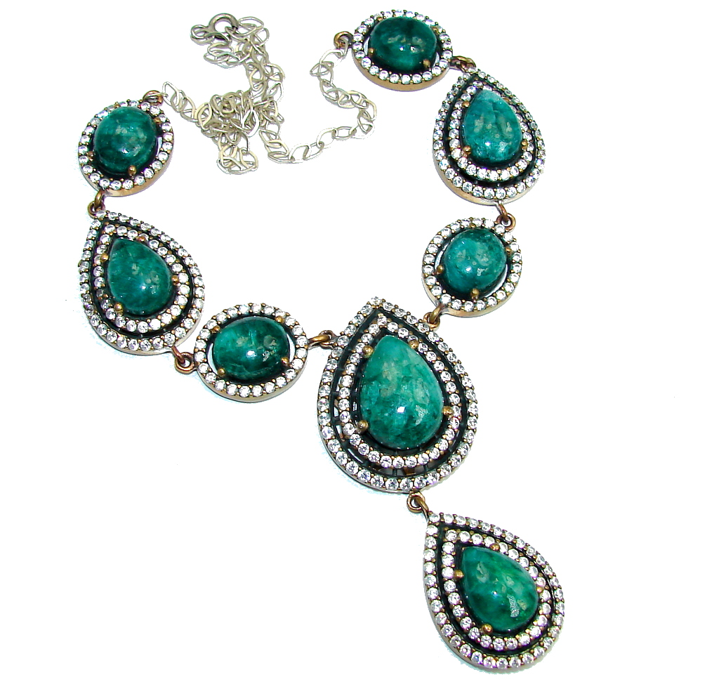 Victorian Style Green Emerald & White Topaz Sterling Silver necklace