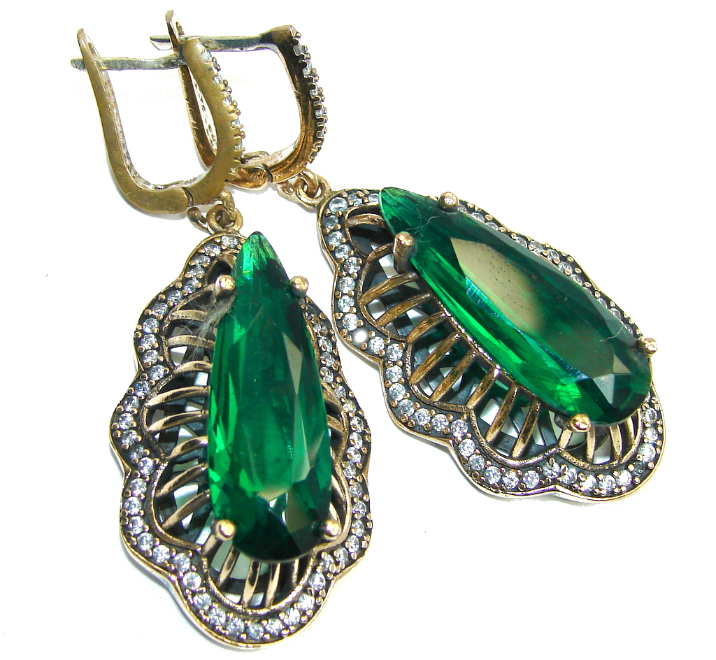 Big! Victorian Style Created Emerald & White Topaz Sterling Silver earrings