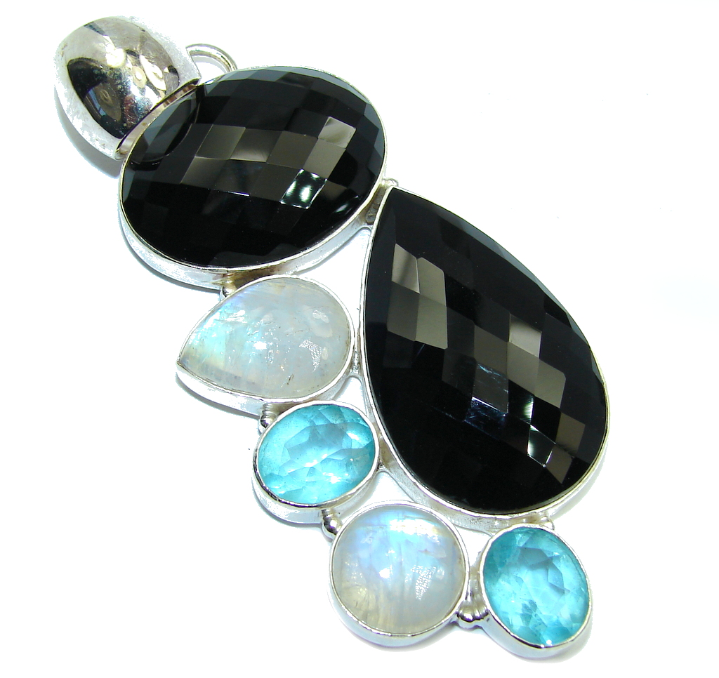 Big! Aura Of Beauty Black Onyx & Swiss Blue Topaz & Moonstone Sterling Silver Pendant