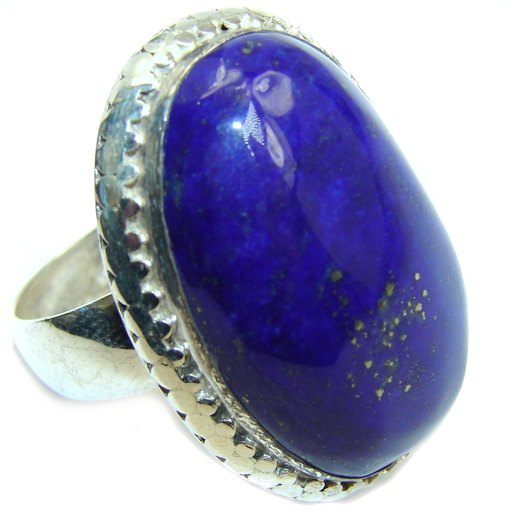 Big! Perfect Blue Lapis Lazuli Sterling Silver Ring s. 9 1/4