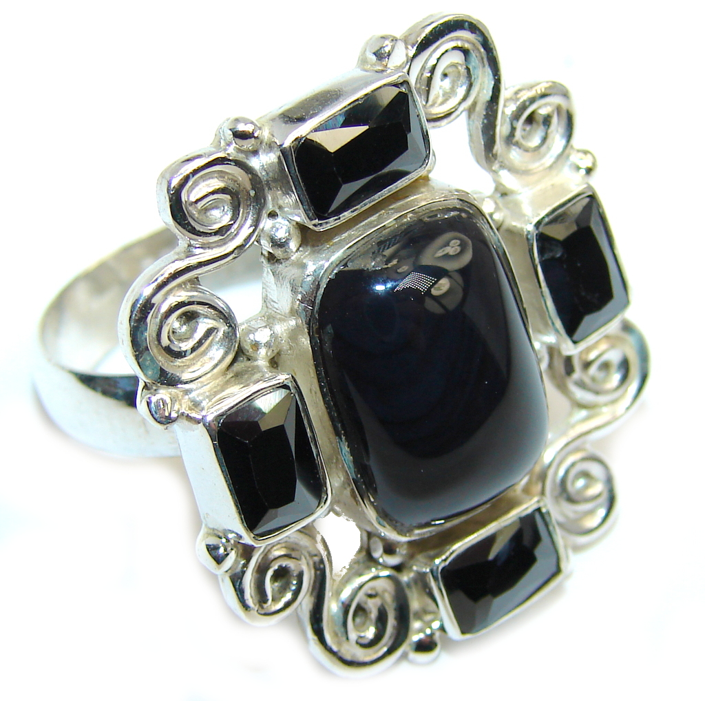 Amazing AAA Black Onyx & Hematite Sterling Silver ring s. 8