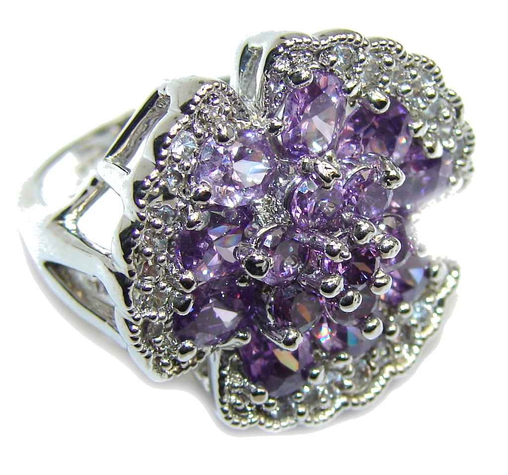 Beautiful Purple Amethyst & White Topaz Sterling Silver ring s. 6 1/4