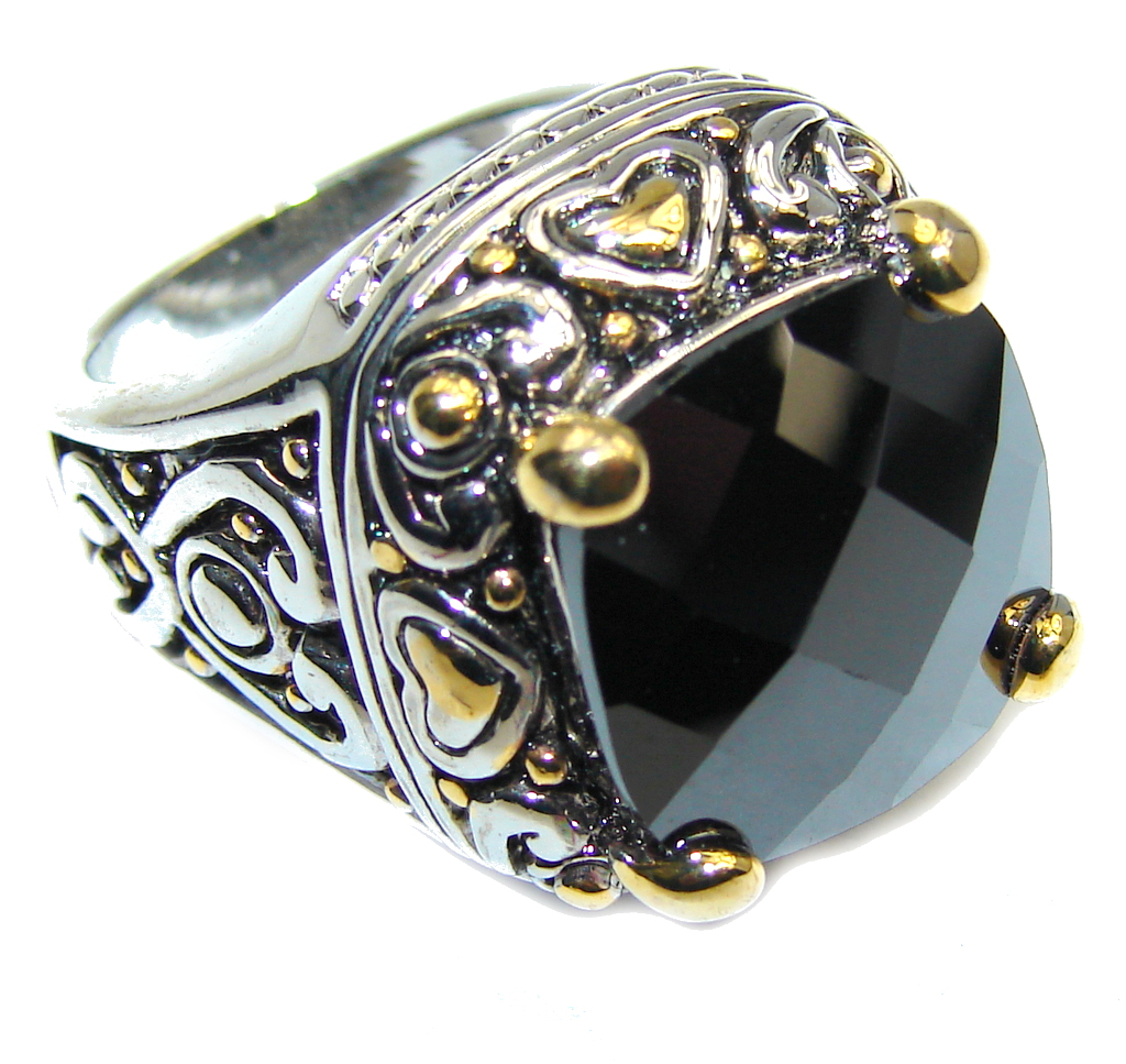 Perfect Silver Hematite Sterling Silver Ring s. 6