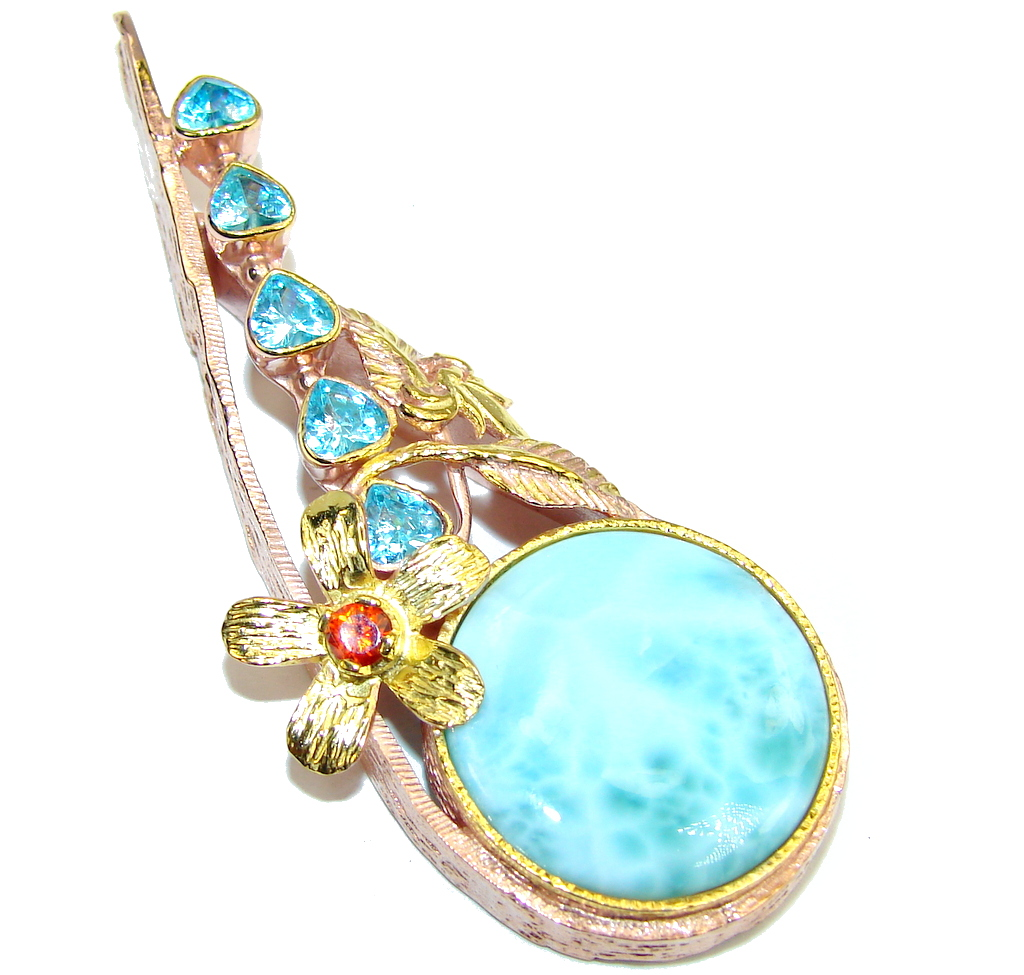 Majestic Larimar Gold plated over Sterling Silver Pendant
