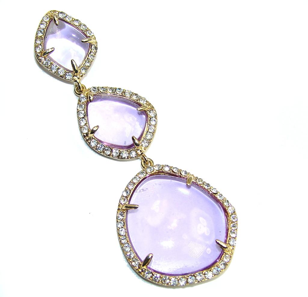 Beautiful AAA Purple Amethyst & White Topaz Sterling Silver Pendant