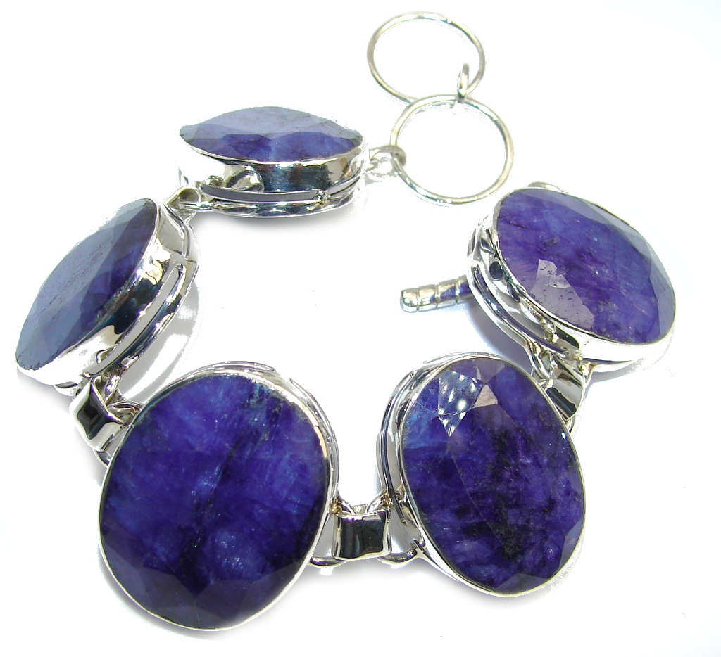 Simple Beauty Blue Sapphire Sterling Silver Bracelet