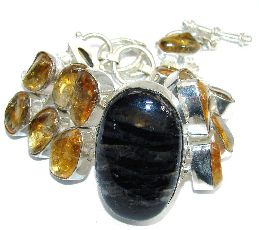 Beautiful Black Pietersite & Citrine Sterling Silver Bracelet