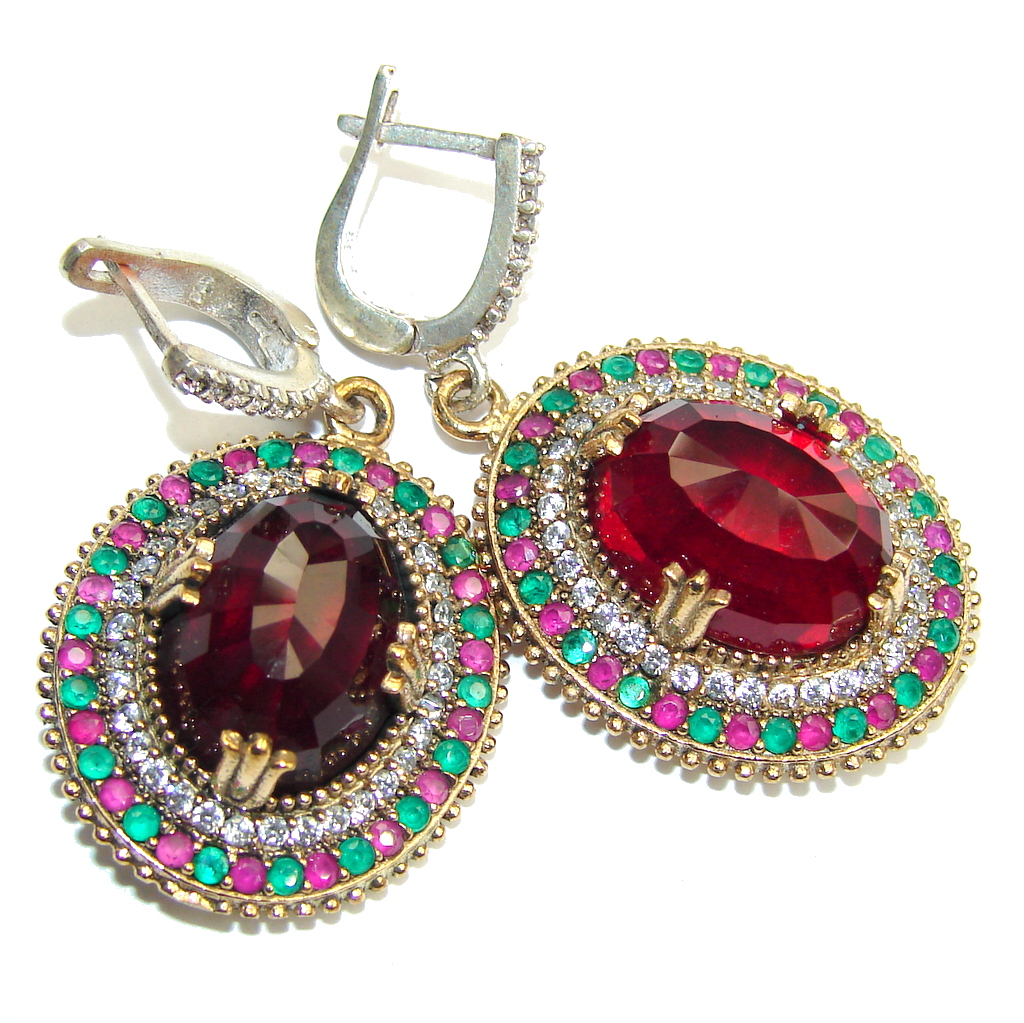 Big! Victorian Style Created Red Garnet Sterling Silver earrings