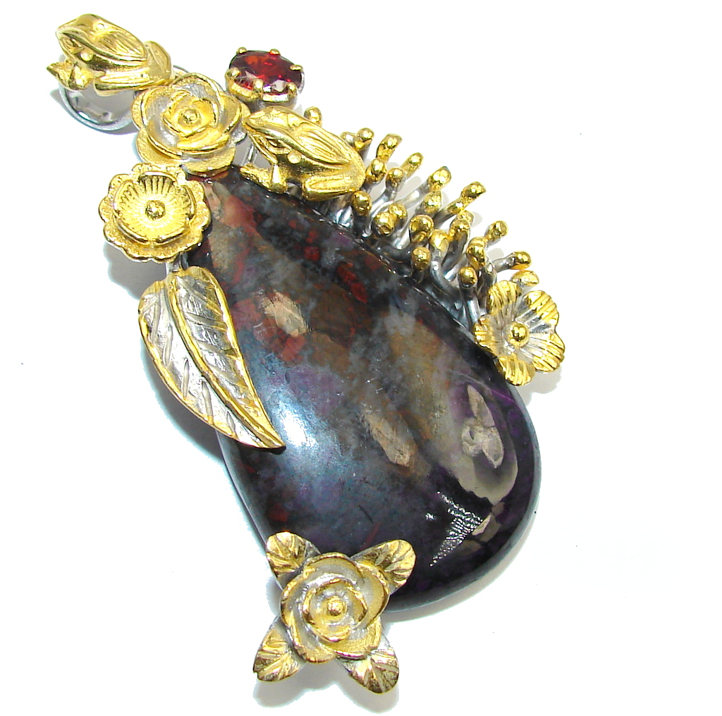 AAA Fancy Bloodstone, Gold Plated, Rhodium Plated Sterling Silver pendant