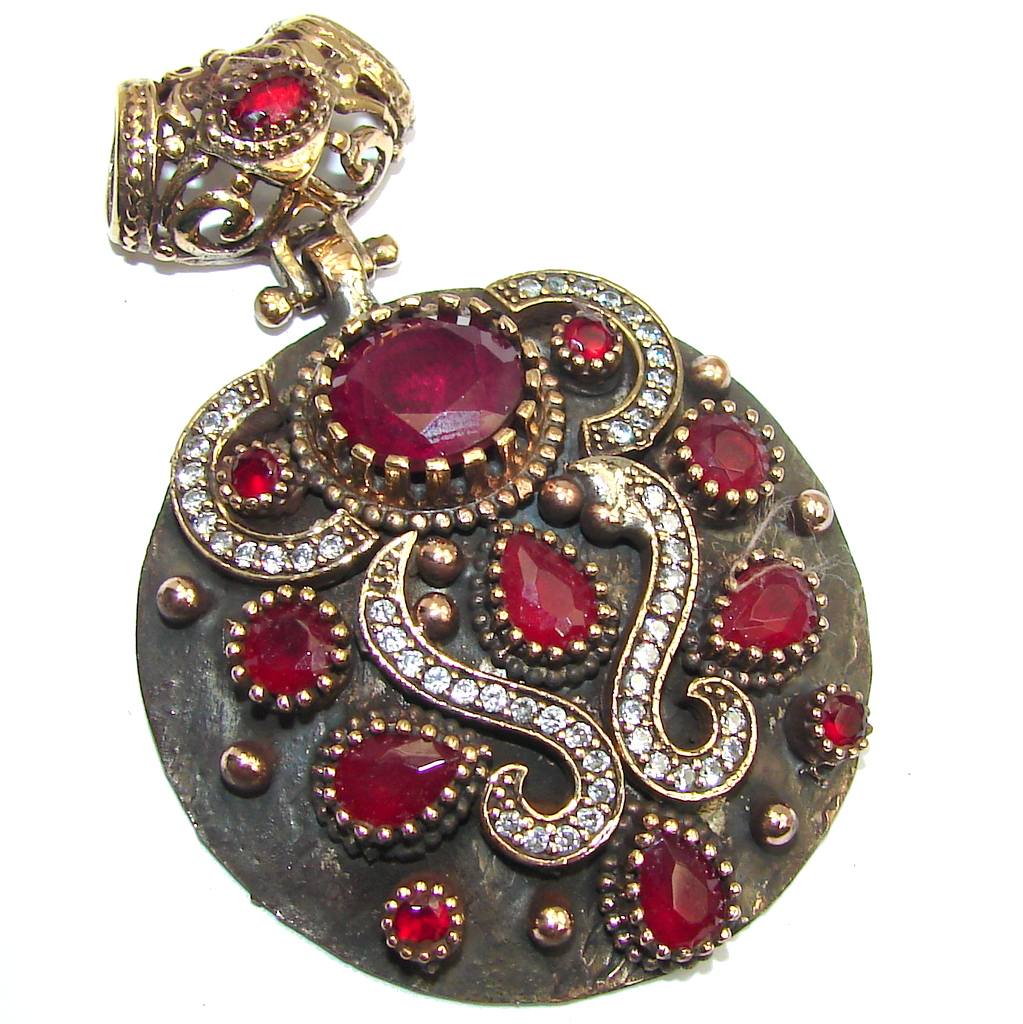 Big! Victorian Style Red Ruby & White Topaz Sterling Silver Pendant