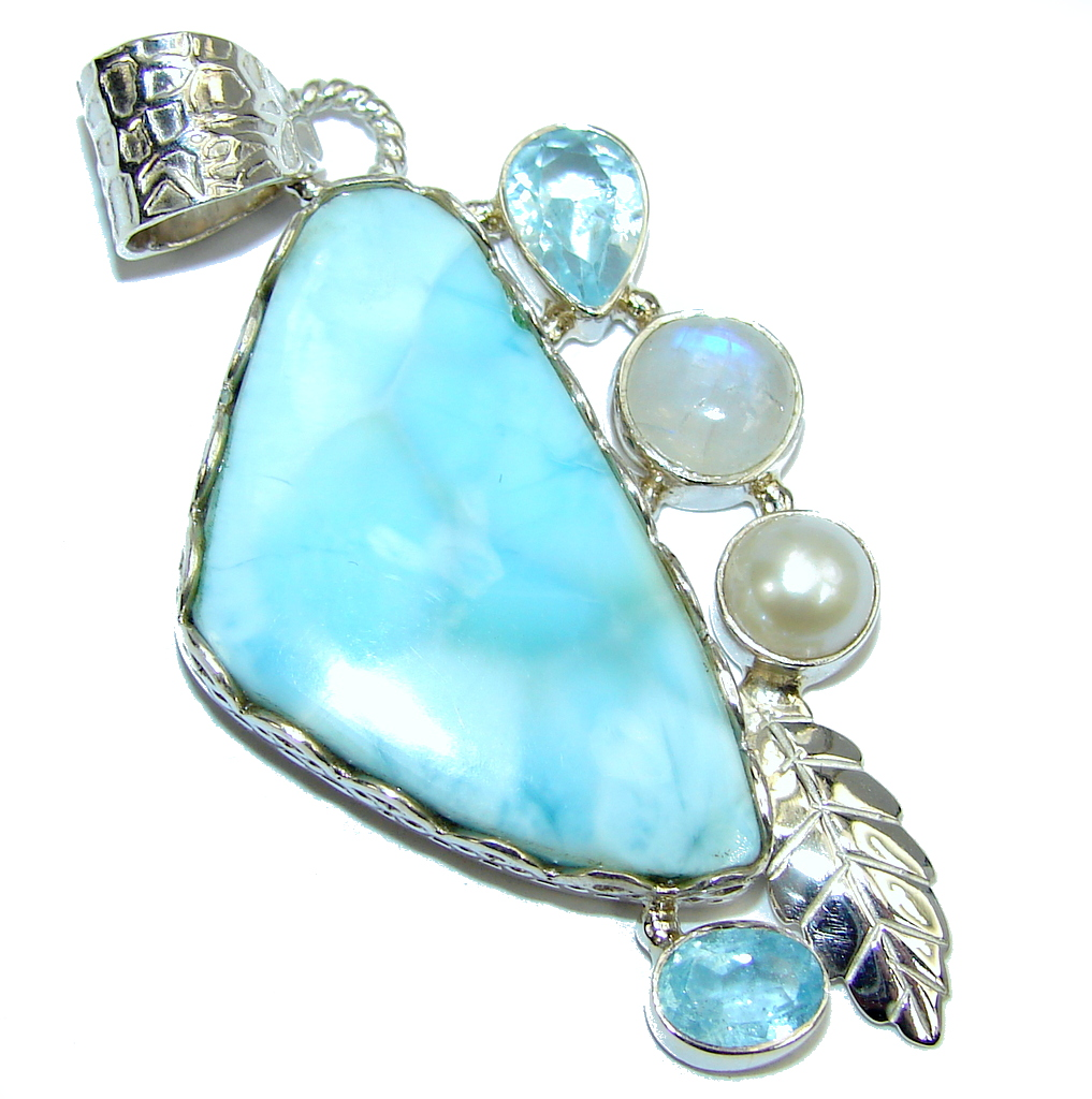 Amazing AAA Blue Larimar Sterling Silver Pendant