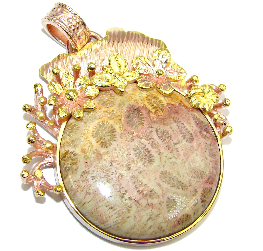 Stunning Brown Fossilized Coral, Rose Gold Plated Sterling Silver pendant