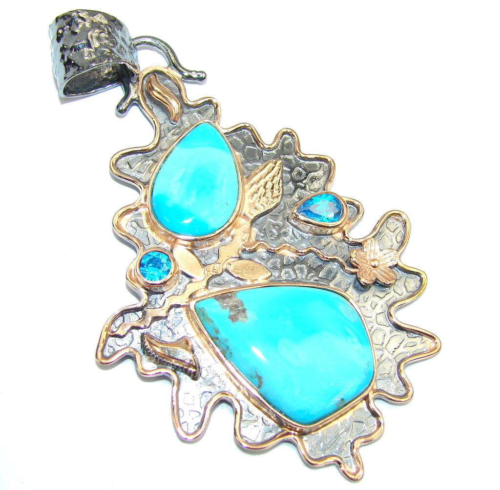 Sleeping Beauty Blue Turquoise, Rose Plated, Rhodium Plated Sterling Silver Pendant