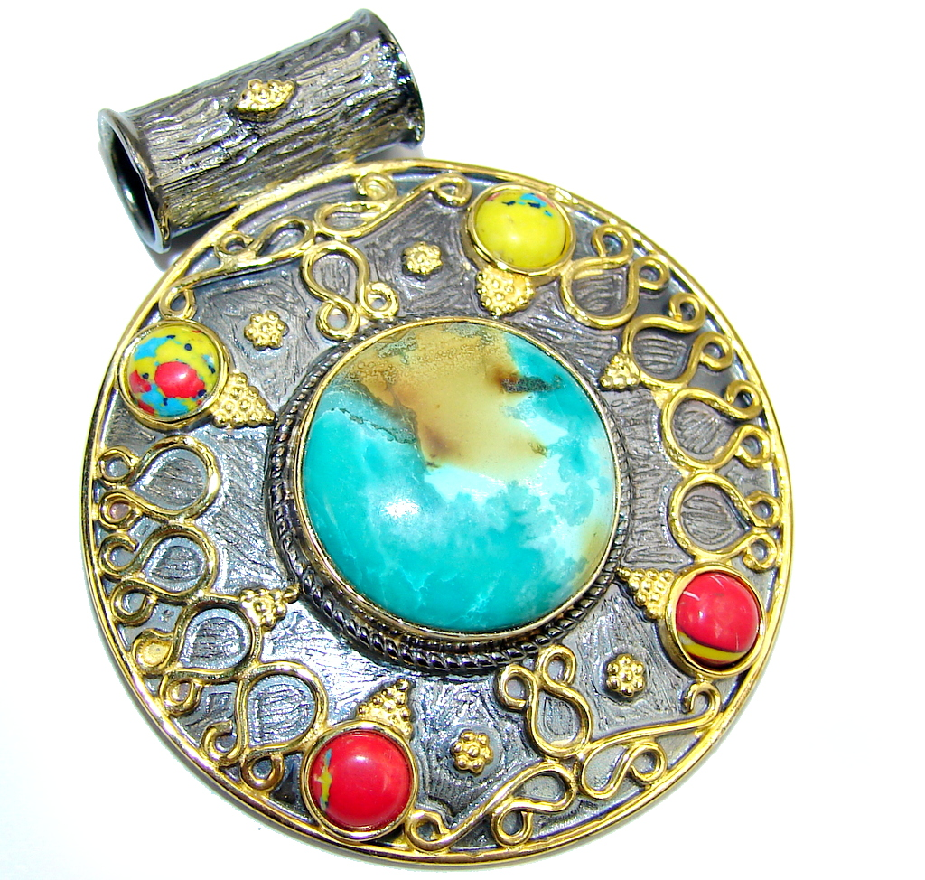 Amazing Green Turquoise, Rose Plated, Rhodium Plated Sterling Silver Pendant