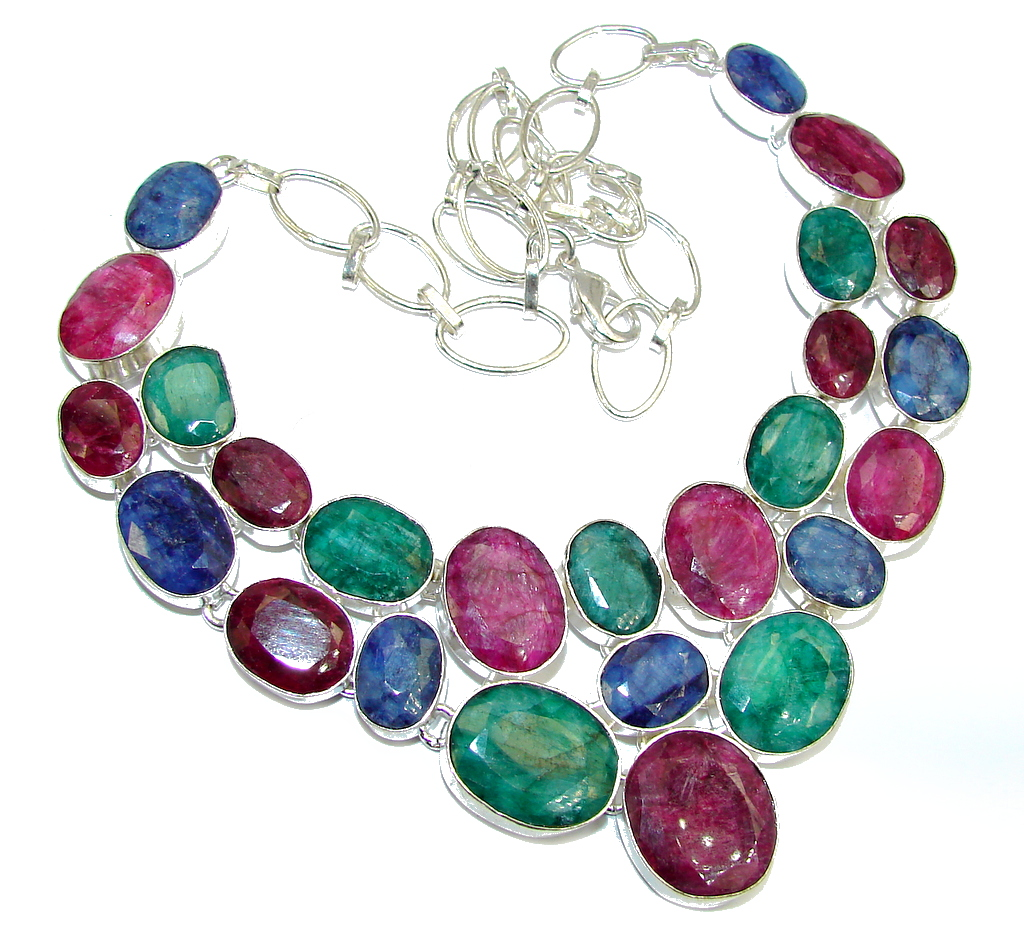 Breath Of Love! Pink Ruby & Emerald & Sapphire Sterling Silver necklace