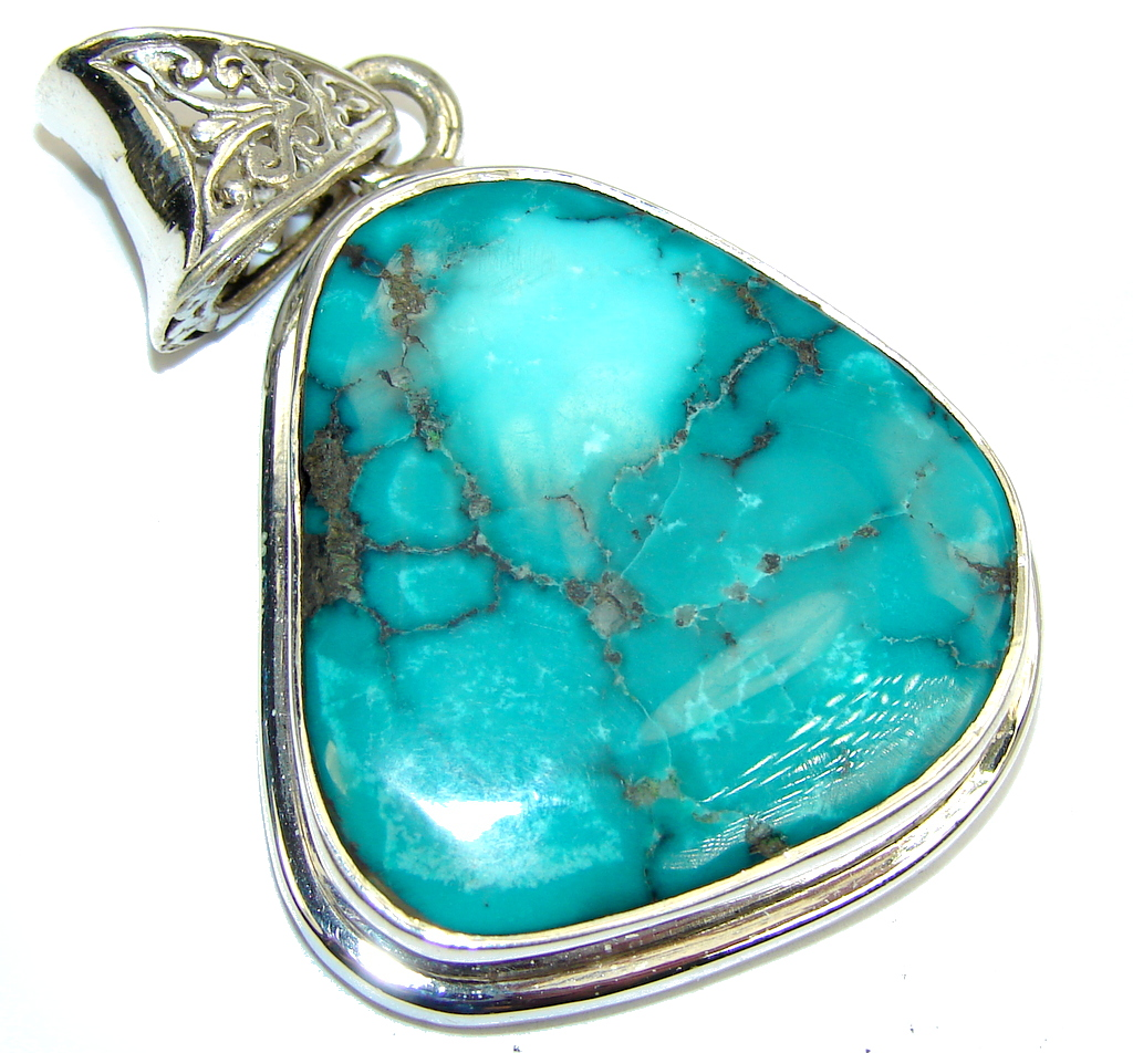 AAA QUALITY Blue Turquoise Sterling Silver Pendant
