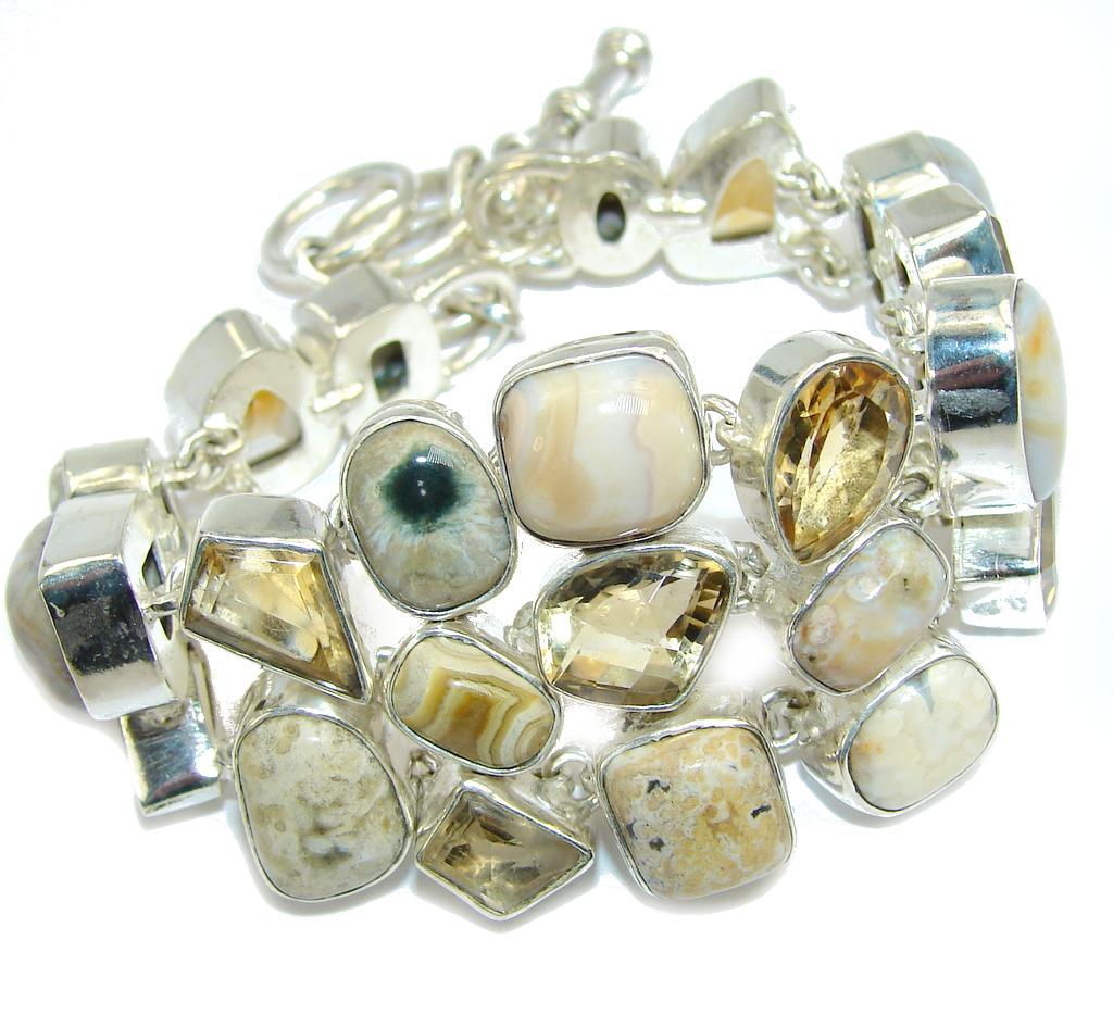 Summer Style Yellow Citrine & Ocean Jasper Sterling Silver Bracelet