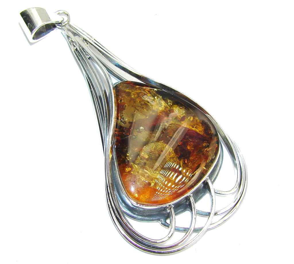 Huge! Natural AAA Baltic Polish Amber Sterling Silver Pendant