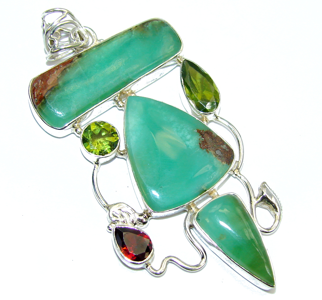 Amazing Green Chrysophrase Sterling Silver Pendant