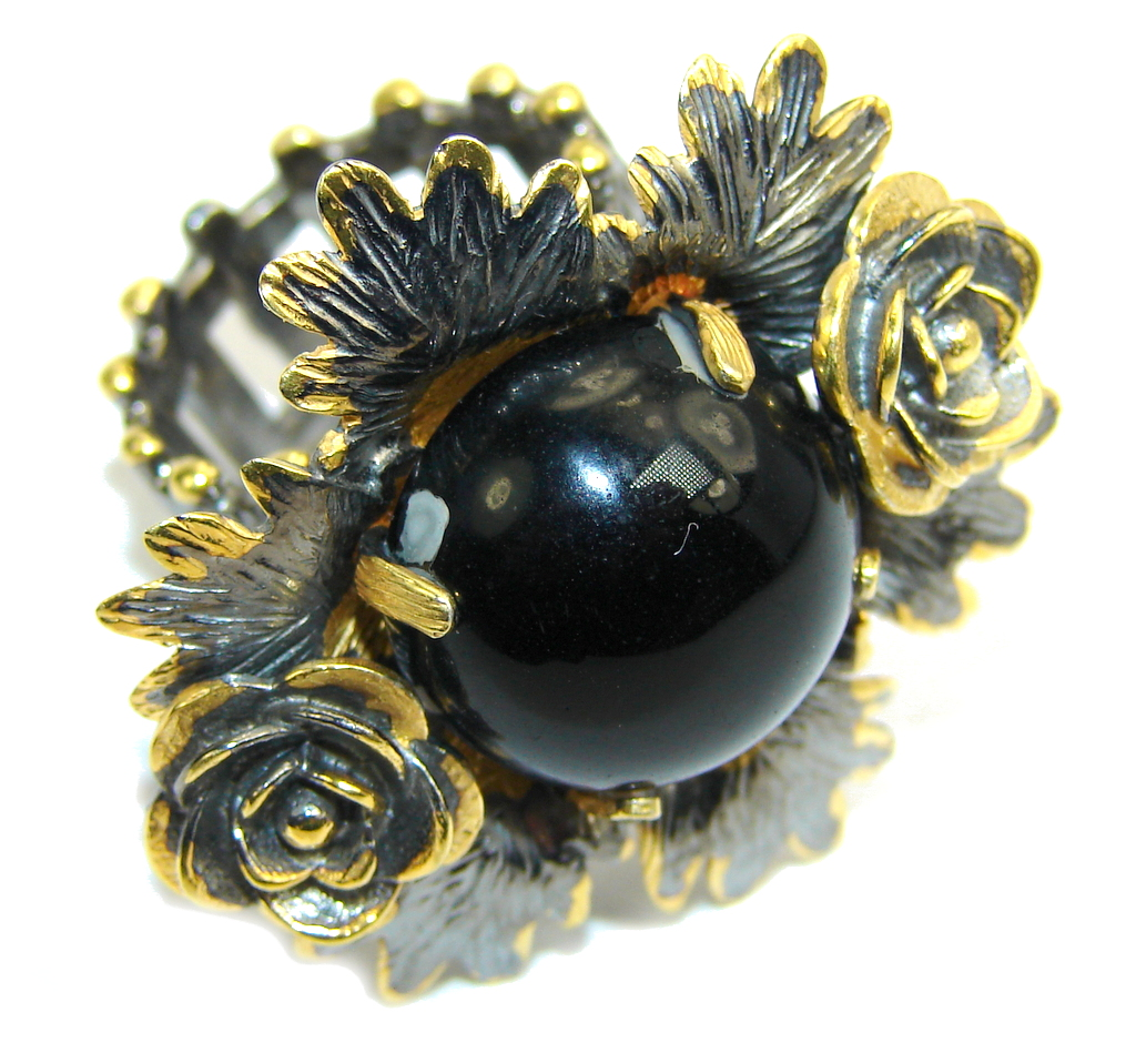 Big! Amazing AAA Black Onyx, Gold Plated, Rhodium Plated Sterling Silver ring s. 7