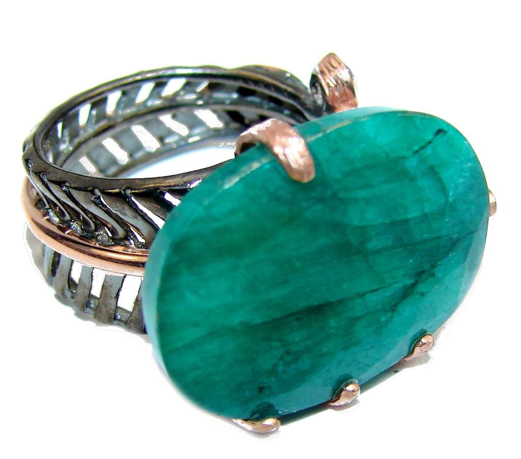 Genuine AAA Green Emerald, Rose Gold Plated, Rhodium Plated Sterling Silver Ring s. 7- adjustable