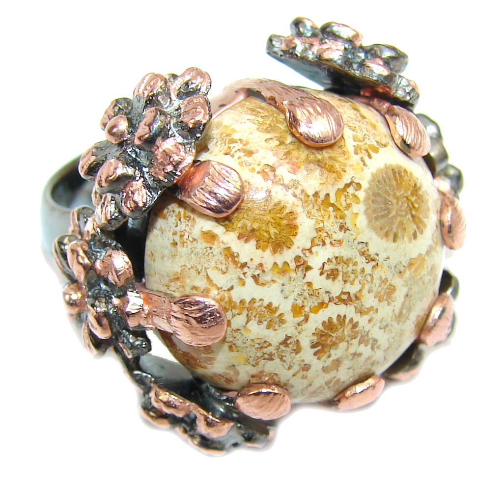 Amazing Brown Fossilized Coral, Rose & Rhodium Plated Sterling Silver ring s 6