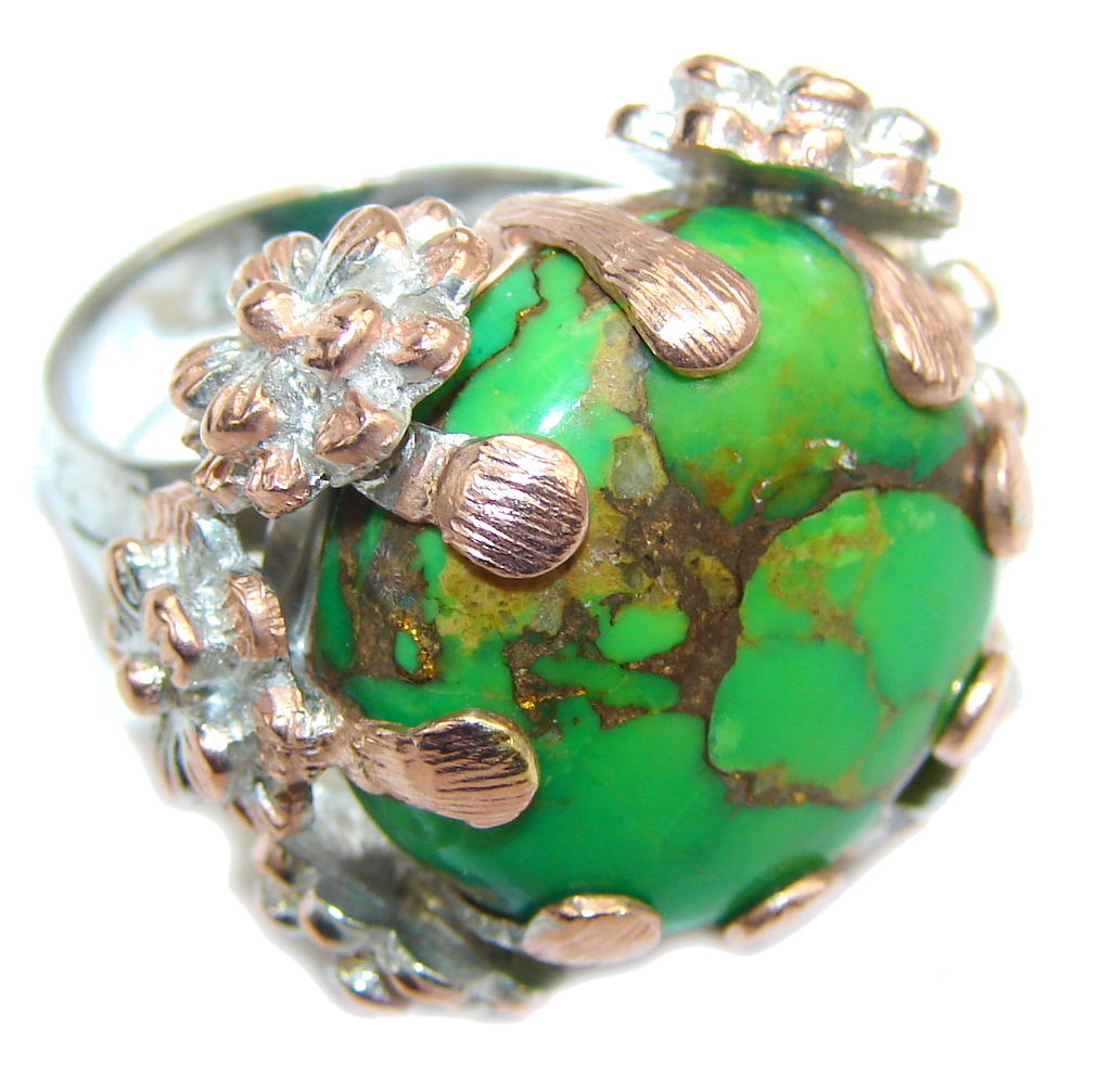 Amazing Copper Green Turquoise, Two Tones Sterling Silver Ring s. 7