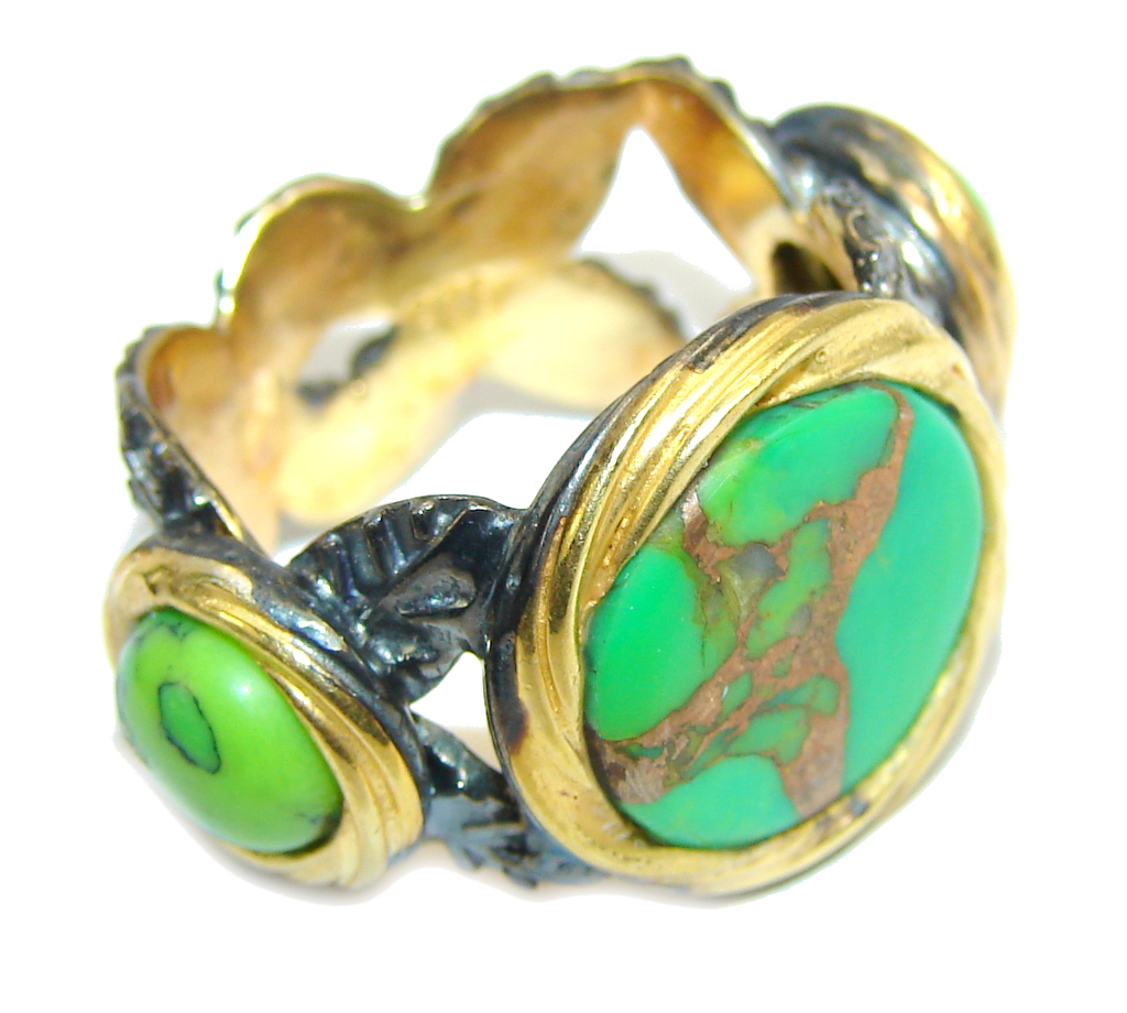 Amazing Copper Green Turquoise, Gold Plated, Rhodium Plated Sterling Silver Ring s. 7