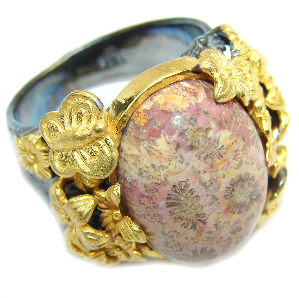 Amazing Brown Fossilized Coral, Gold & Rhodium Plated Sterling Silver ri..