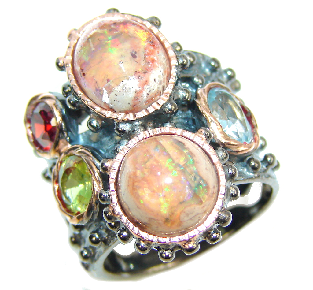 Secret Mexican Fire Opal, Rose Gold Plated, Rhodium Plated Sterling Silver  ..
