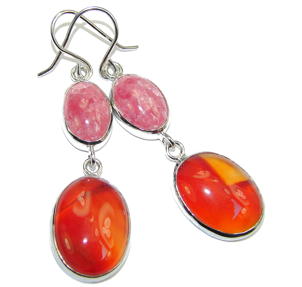 Amazing Pink Rhodochrosite & Carnelian Sterling Silver earrings