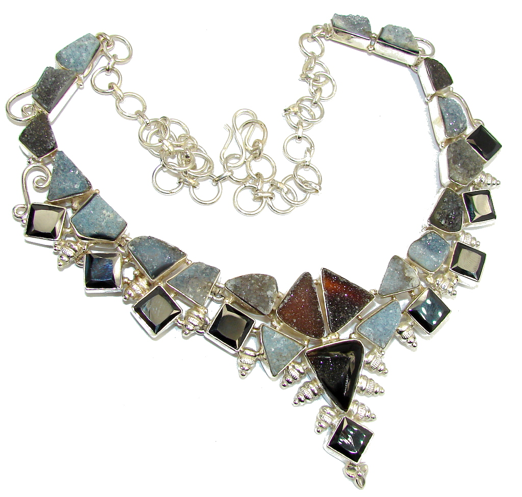 Aura Of Beauty! Multicolor Druzy Agate & Hematite Sterling Silver necklace