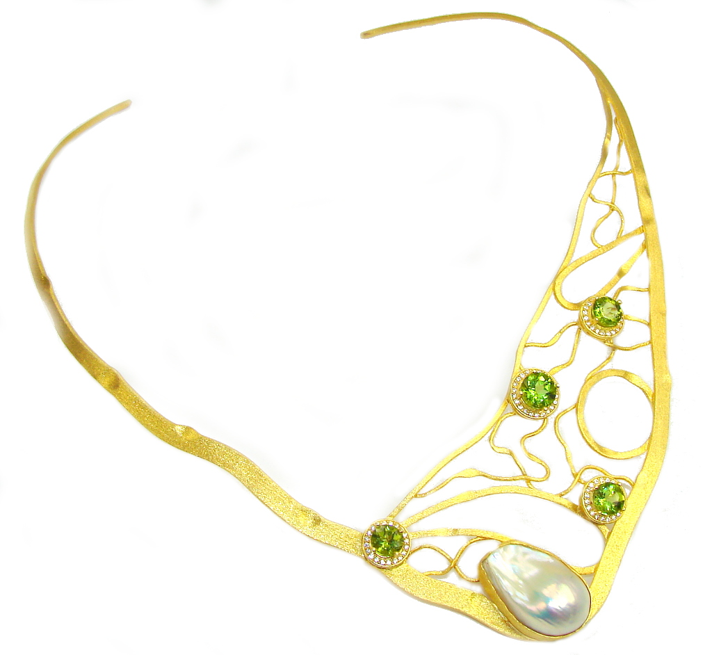 Stunning Design AAA Mother Of Pearl & Peridot & White Topaz, Gold Plated Sterling Silver necklace / Cuff